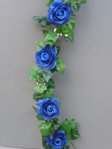 Garland with blue silk roses