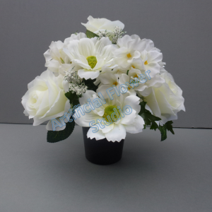 Cemetery pot with artificial ivory roses cosmos and hydrangea