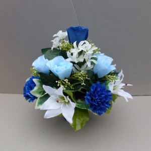 Pot for memorial vase with artificial blue rosebuds & carnations