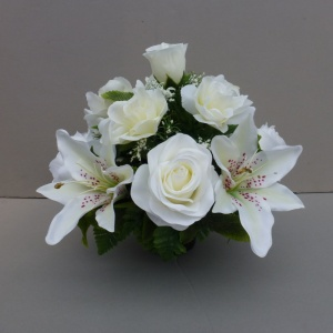 Pot for memorial vase with artificial white lilies & roses