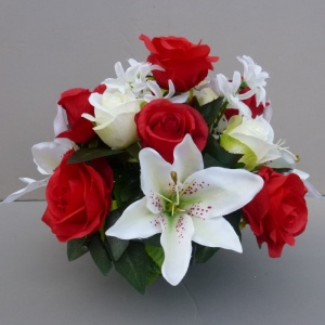 Artificial Flower grave pot with red roses and ivory lillies