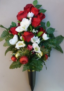 Memorial grave spike vase with Christmas roses