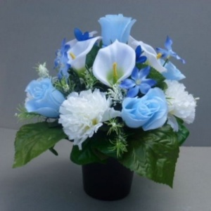 Pot for memorial vase with artificial blue rosebuds & calla  lilies