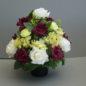 Pot for memorial vase with artificial burgundy, ivory & yellow roses