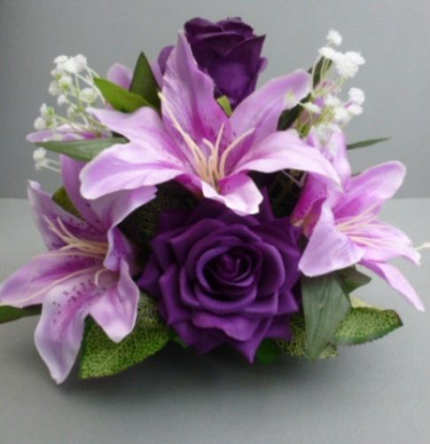 Centerpiece For Wedding Table With Artificial Cadbury Purple Roses Amp Lilies
