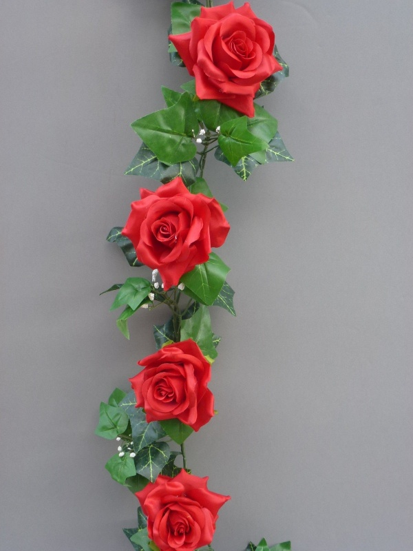Hot red artificial silk roses garland artificial flower studio garland with hot red silk roses mightylinksfo Choice Image