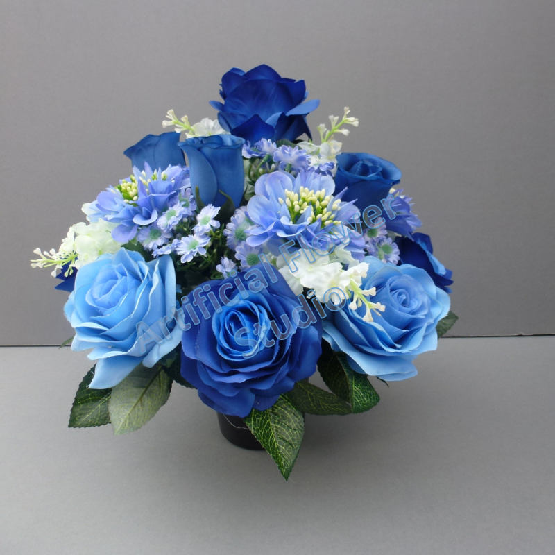 Pot For Memorial Vase With Artificial Blue Roses And Scabiosa