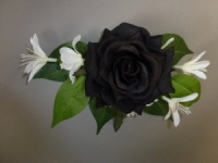 Corsage with artificial black rose