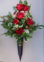 Christmas spike vase with red roses & gypsophila
