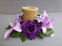 Candle ring with artificial purple roses & lilies
