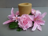 Candle ring with artificial pink roses & lilies