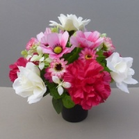 Artificial Flower pot with pink carnations white roses and pink daisies