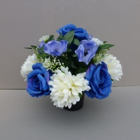 Artificial Flower pot with blue roses, anemones and white daisies