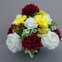Pot for memorial vase with burgundy chrisantemum and yellow gerberas