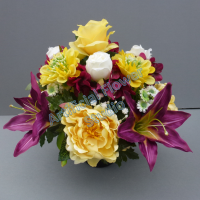 Pot for memorial vase with artificial ivory roses and yellow scabiosa