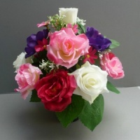 Pot for memorial vase with artificial roses, anemones & rosebud