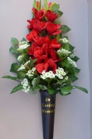 Spike vase with red Gladiolus and Chrysanthemum