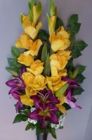 Spike vase with yellow Gladiolus, Lilies, Chrysanthemum