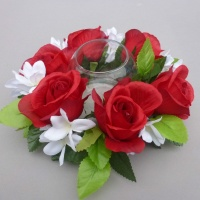 Candle ring with Red Roses and Stephanotia
