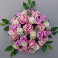 Funeral-Sympathy flower posy dome with pink ivory roses