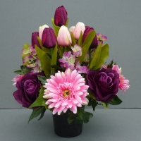 Cemetery pot with artificial purle roses  pink gerberas and tulips