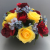 Artificial Flower grave pot with red/yellow roses blue hydrangeas