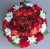 Artificial Flower grave pot with red hydrangeas and roses