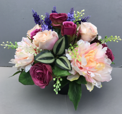Artificial Flower grave pot with dark pink roses peach peonies