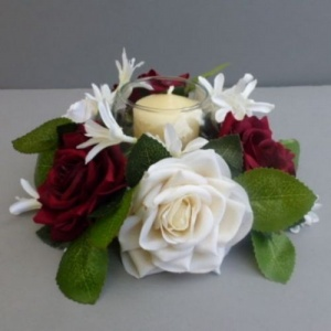Candle ring with artificial dark red & ivory roses