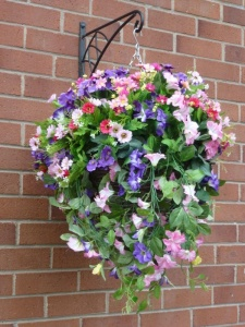 Hanging Baskets With Artificial Purple and pink Petunias G-23