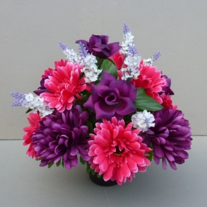 Artificial Flower grave pot with purple roses hot pink gerberas