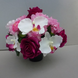 Pot for memorial vase with artificial pink roses and white orchids