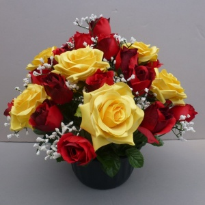 Large freestanding artificial flower pot with red and yellow roses