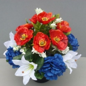 Pot for memorial vase with artificial red poppies & white carnations