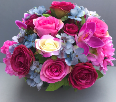 Artificial Flower grave pot with pink/cream roses