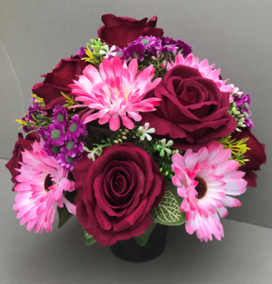 Pot for memorial vase with  pink gerberas and burgundy roses