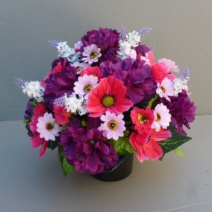 Cemetery pot  In Grave/Memorial Vase Purple Hot Pink -10