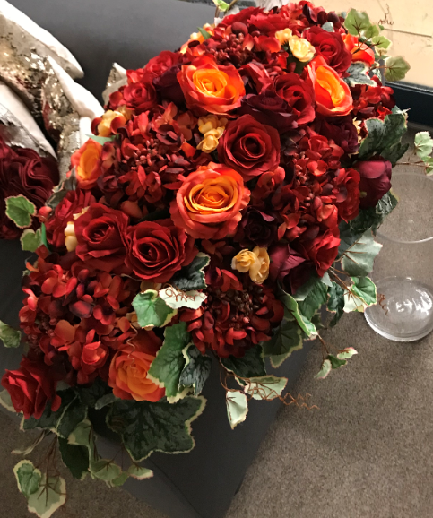 Autumn Red Top Table Centerpiece for wedding