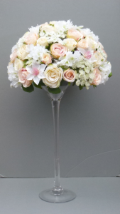 Artificial Flower Blush Pink Wedding Martini Vase Centerpiece