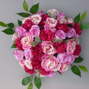 Funeral-Sympathy flower posy dome with pink roses carnations
