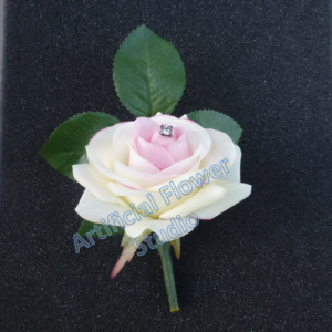Wedding Real Touch Ivory Pink Rose Buttonhole