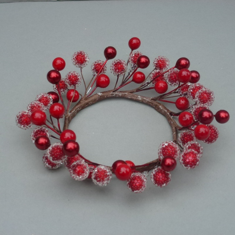 christmas candle ring with artificial red berries - Decorative Christmas Candle Rings