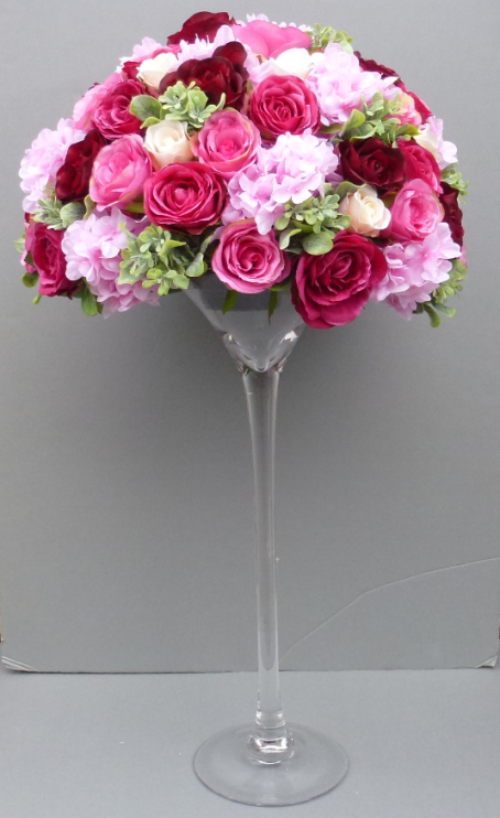 Artificial Flower Dark Pink Wedding Martini Vase Centerpiece