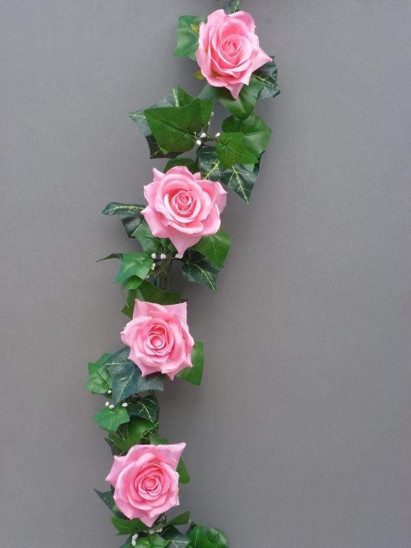 Pink Artificial Silk Roses Garland Artificial Flower Studio