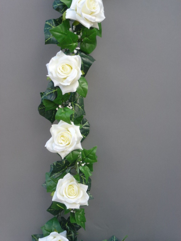 Ivory artificial silk roses garland artificial flower studio garland with artificial ivory silk roses mightylinksfo