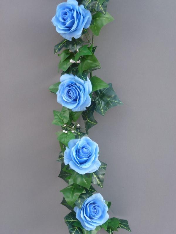 Light blue artificial silk roses garland artificial flower studio garland with light blue silk roses mightylinksfo