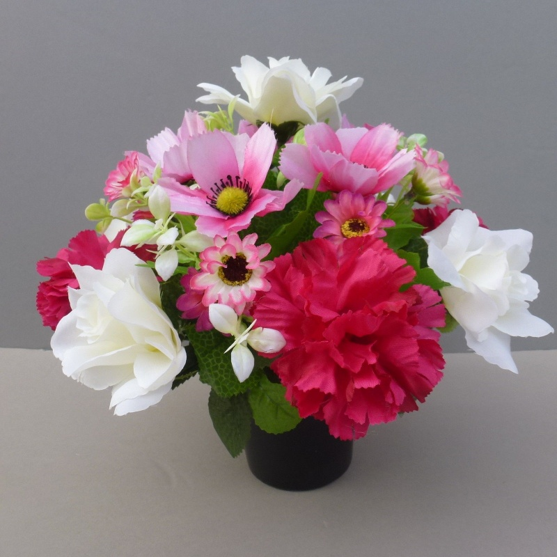 Artificial flower pot with pink carnations white roses and pink artificial flower pot with pink carnations white roses and pink daisies mightylinksfo