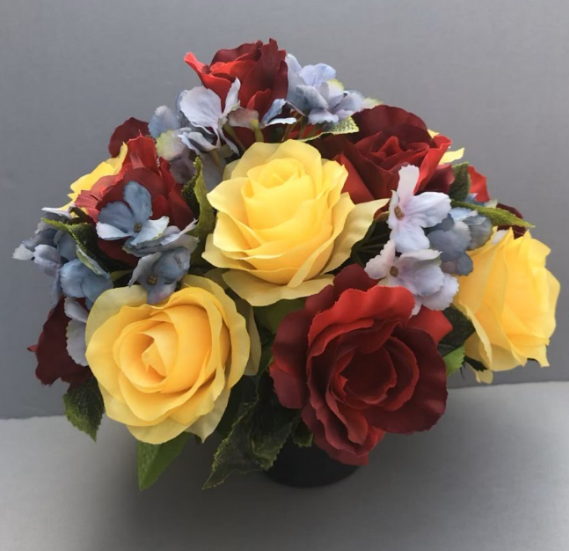 Artificial Flower Grave Pot With Red Yellow Roses Blue Hydrangeas Artificial Flower Studio