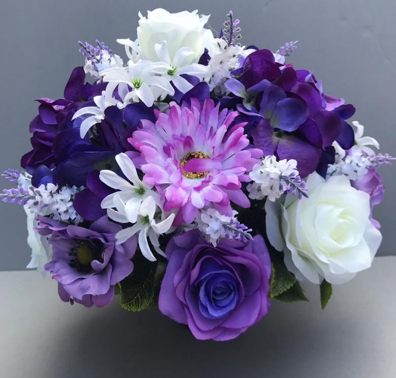 Artificial Flower Grave Pot With Lilac White Roses Violet Hydrangeas Artificial Flower Studio