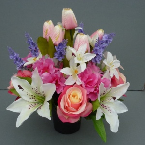 Cemetery pot with artificial pink-cream roses ivory lilies and tulips